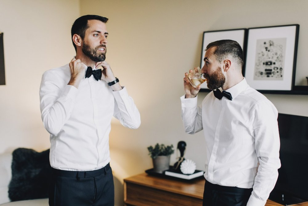 Groom's getting ready on the wedding day, same sex MN wedding