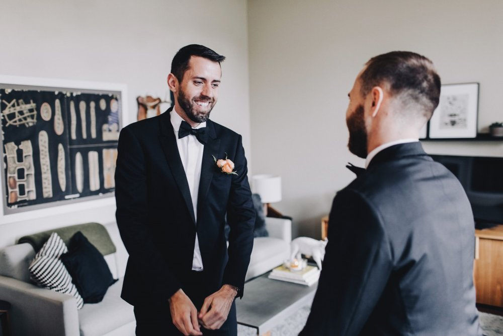 First look for grooms, same-sex MN wedding