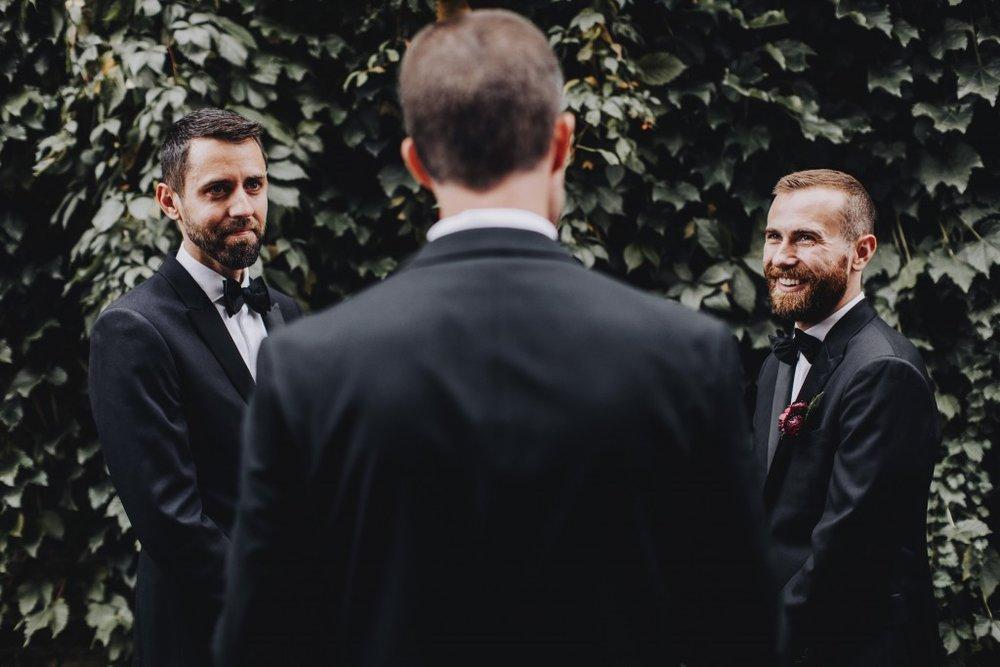 Same-sex outdoor wedding ceremony in Linden Hills Minnesota