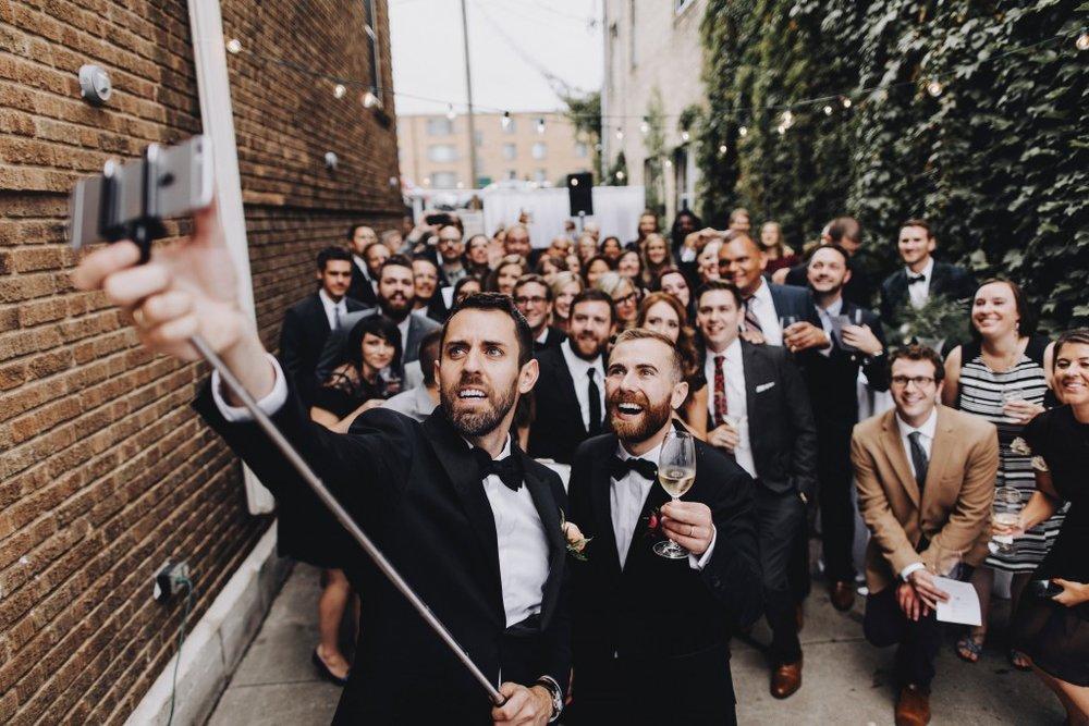 Wedding selfie after ceremony at Tilia in Linden Hills, Minnesota