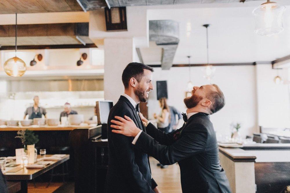 Same-sex wedding reception at Tilia in Linden Hills, Minnesota