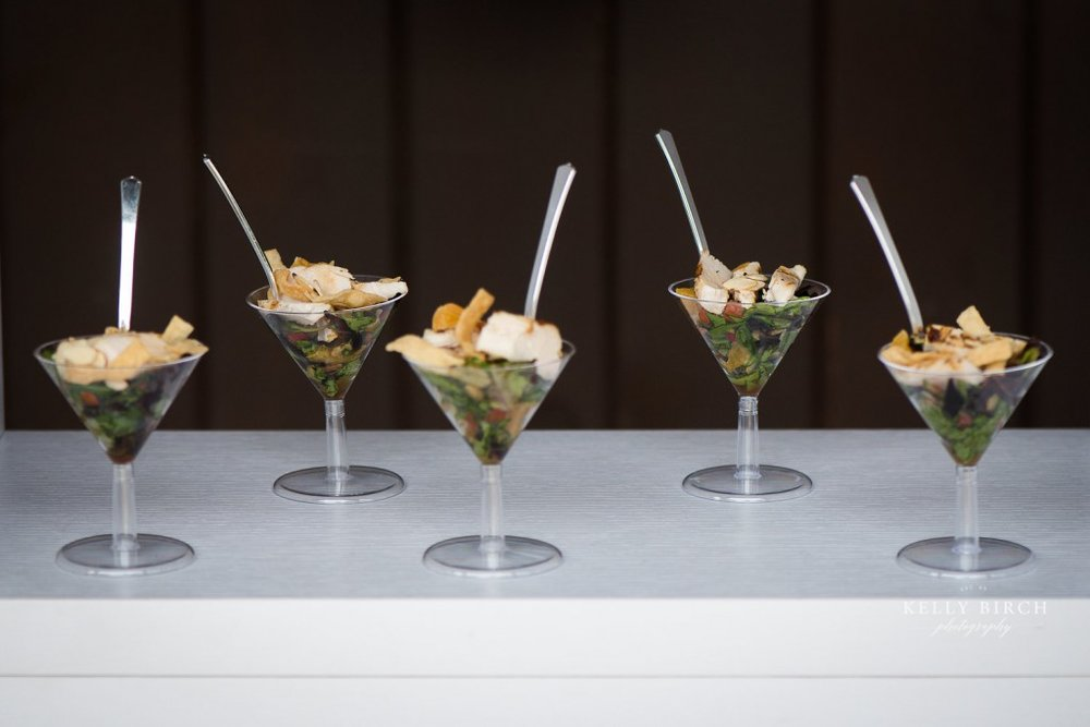 Wedding food. Unique food displays using martini glass.