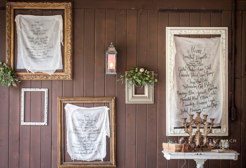 custom signage and quotes hanging from frames at Historic Hope Glen Farm wedding. Upscale rustic, vintage wedding decor