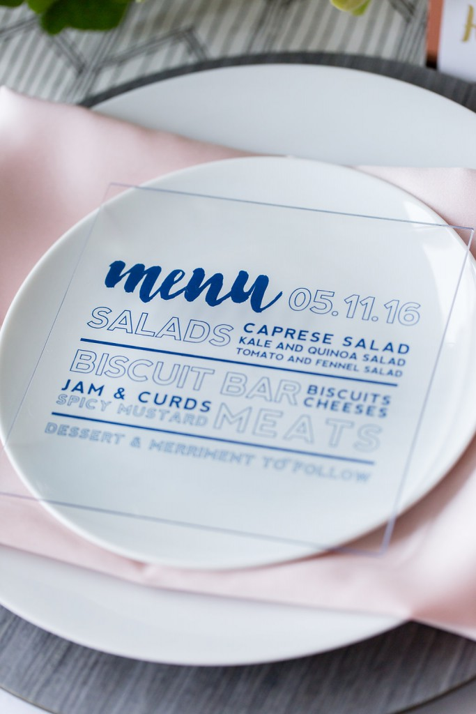 Unique menu card made from acrylic. Pink and blue wedding colors.