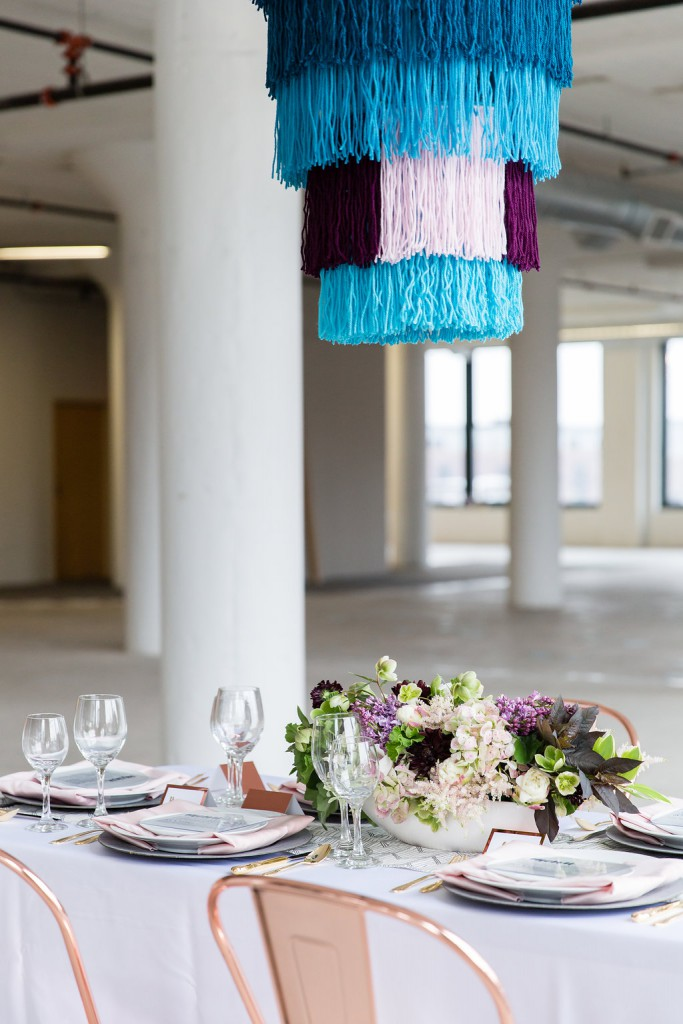 Modern wedding inspiration with copper/rose gold, purple and blue accents, warehouse wedding venue
