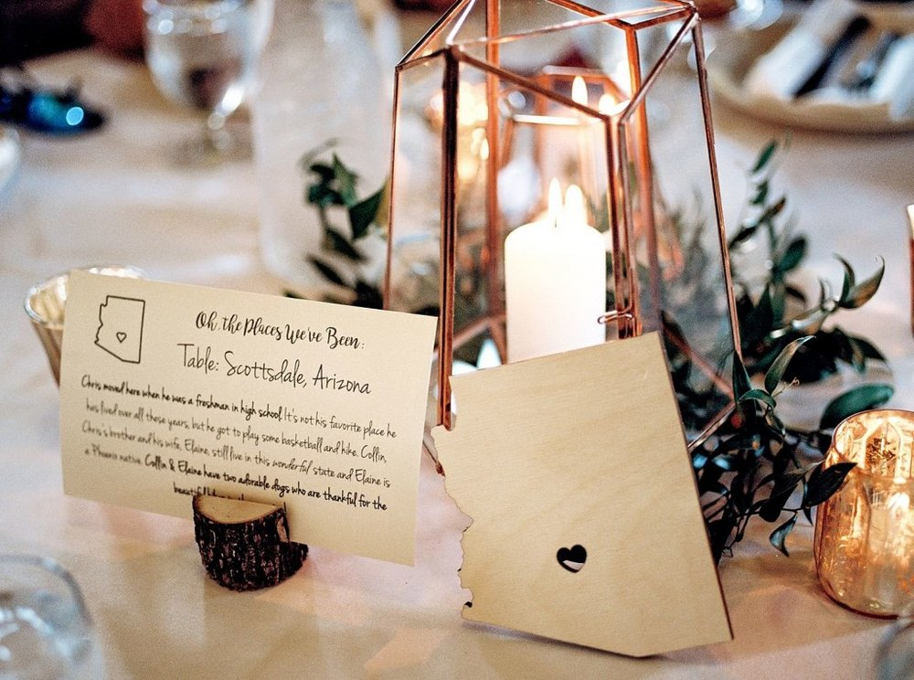 Geometric centerpiece with unique table numbers/names