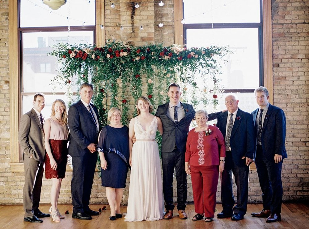 Family photo at wedding