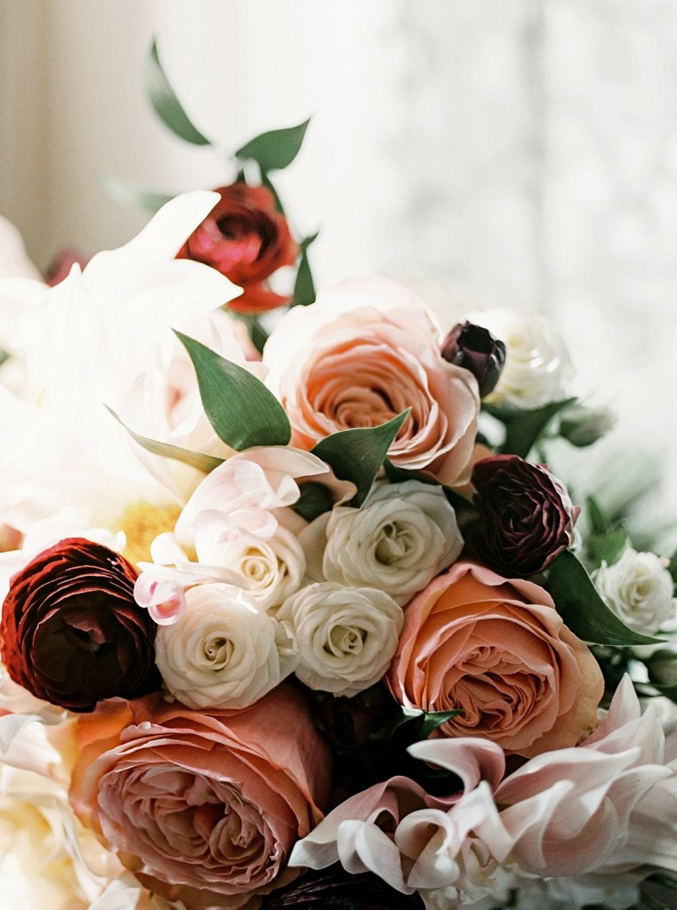peach, red and white bouquet