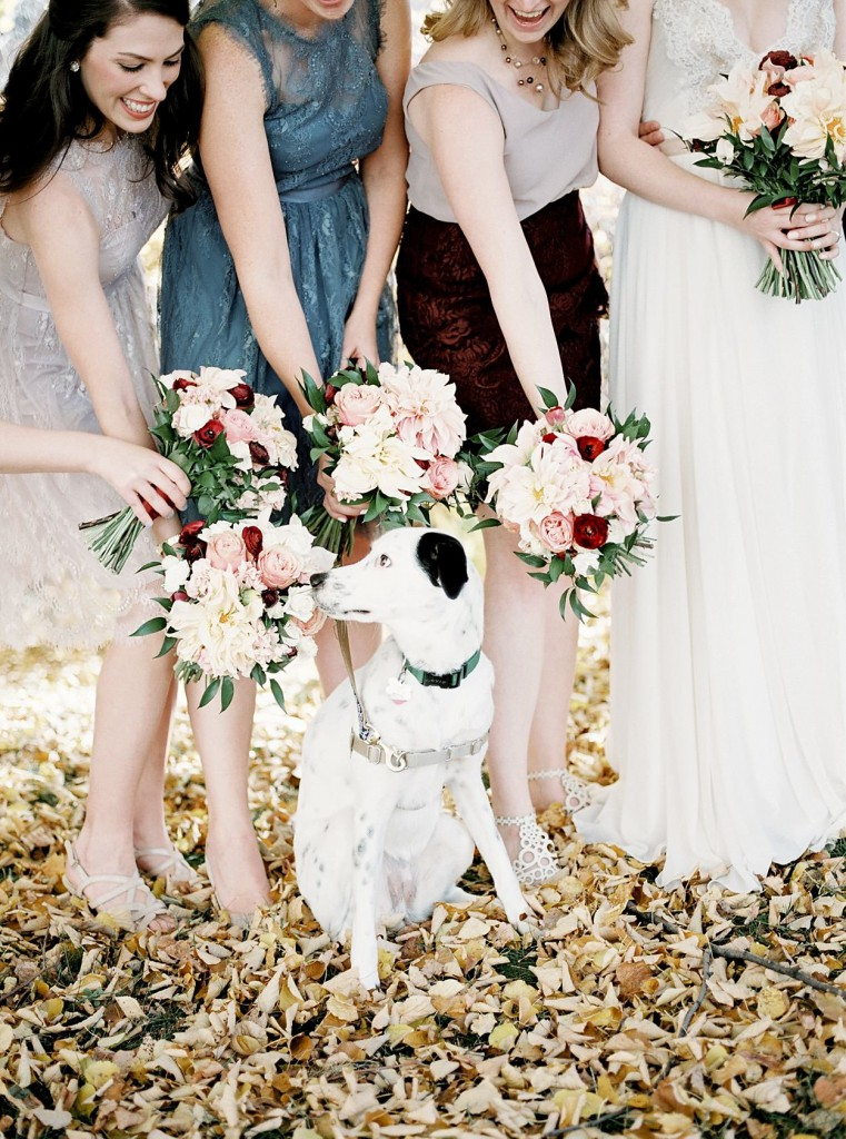 Bridesmaids pose with dog at wedding, holding bouquets made with Fall florals in pink, peach and red shades with Dahlias, roses, hydrangea, greenery