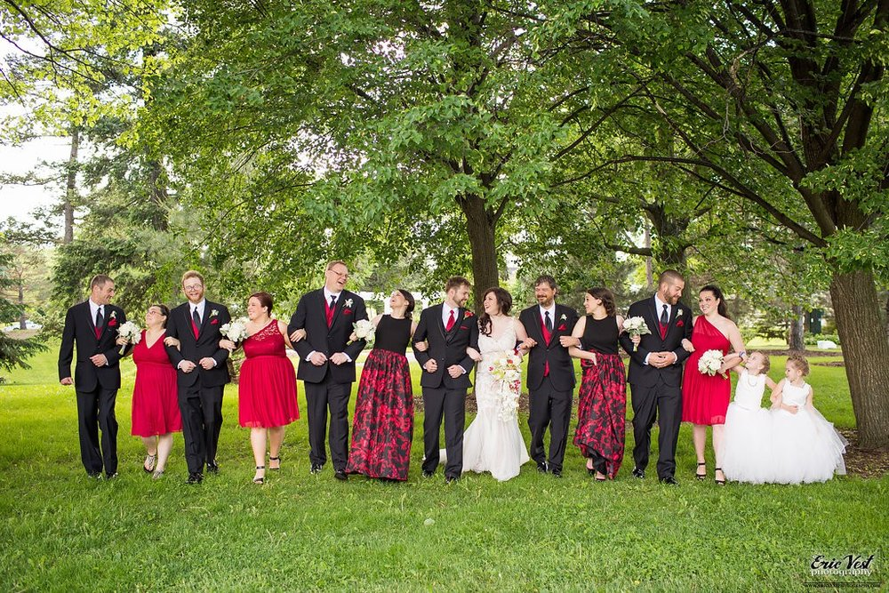 Wedding party- red, black and white wedding