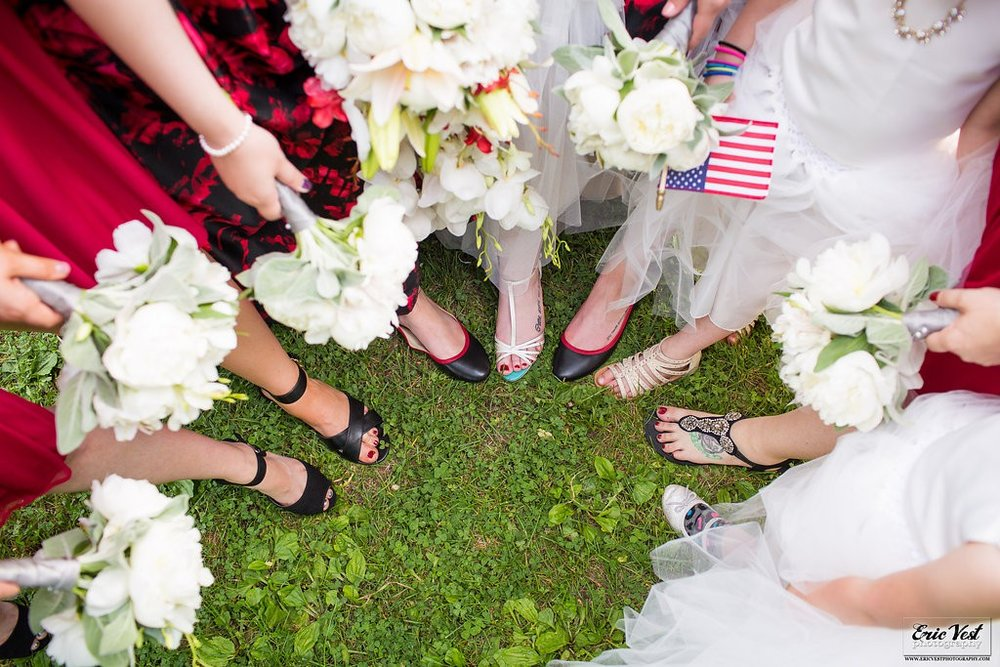 bridesmaids shoes and bouquets