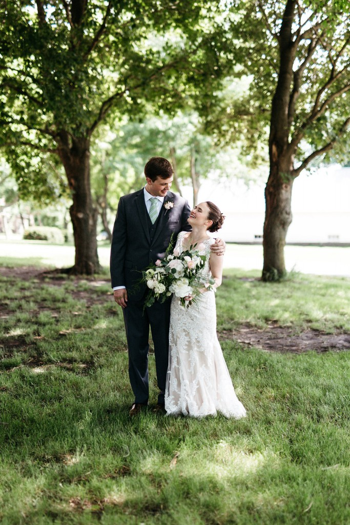 Bride and groom at Red Barn Farm