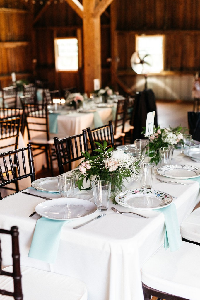mint and blush wedding reception vintage decor at Red Barn Farm,