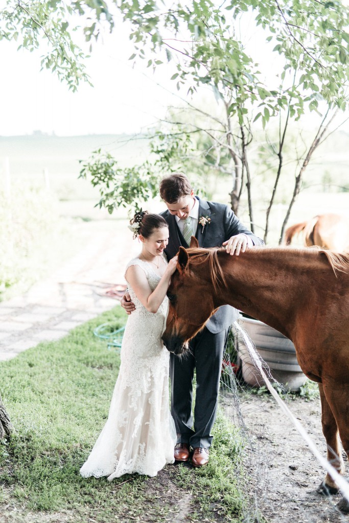 Bride and groom with horse at Red Barn Farm Wedding