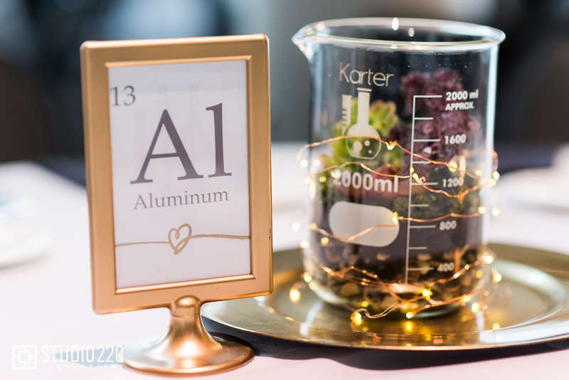 unique centerpiece ideas for science theme wedding- beaker