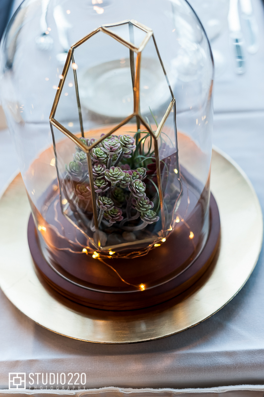 unique centerpiece ideas for science theme wedding- terrarium