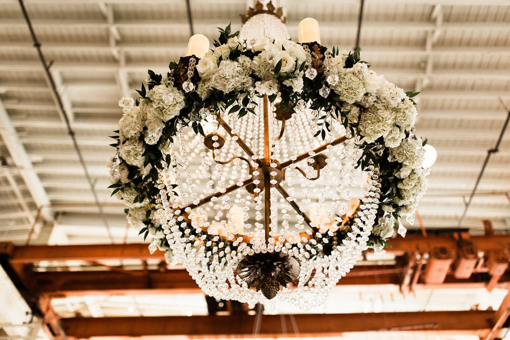 chandelier with a lovely white flower ring