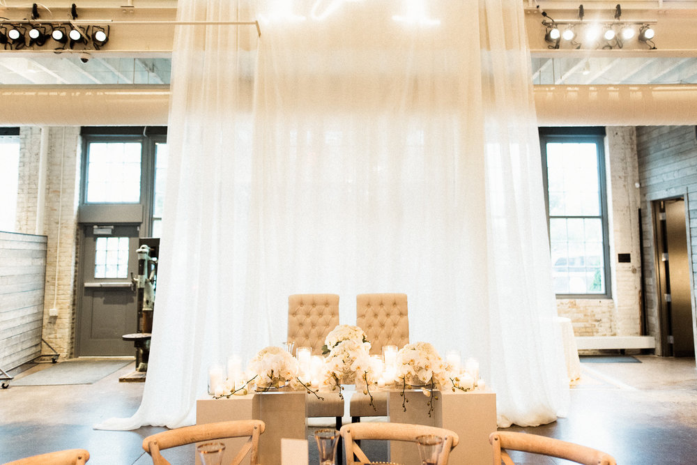 timeless white sweetheart table