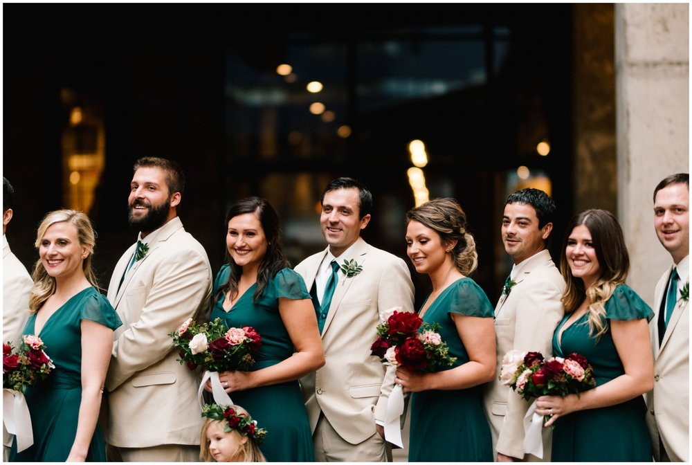 Bridal party at a fall boho wedding