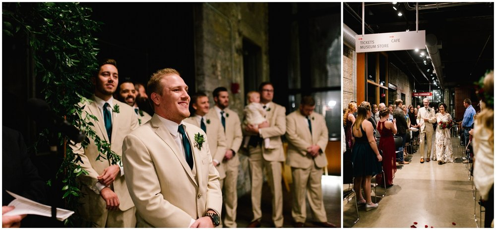 Groom's reaction as the bride walks down the aisle to him