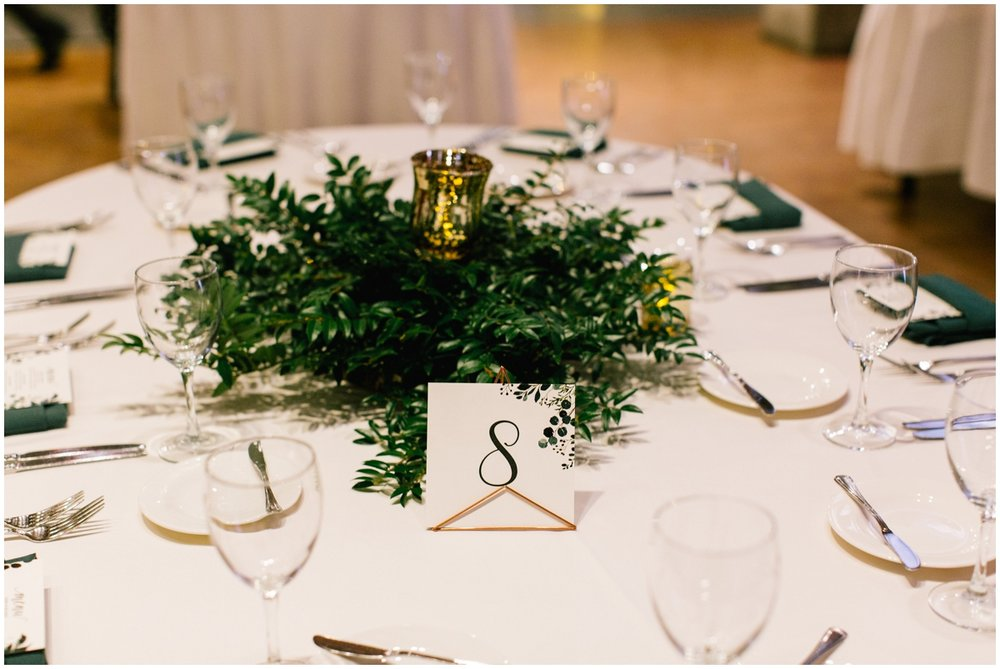 Greenery themed wedding tablescape