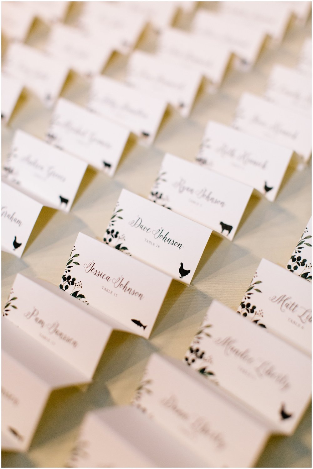 Greenery boho themed wedding name tags