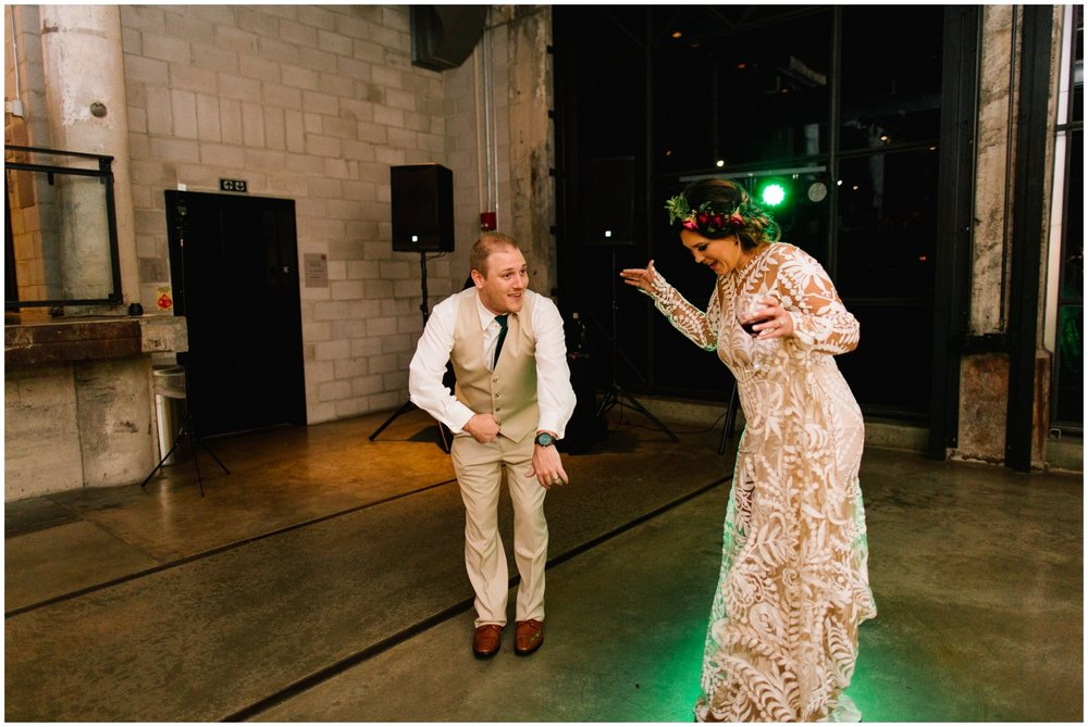Bride and groom having their first dance at the Mill City Museum