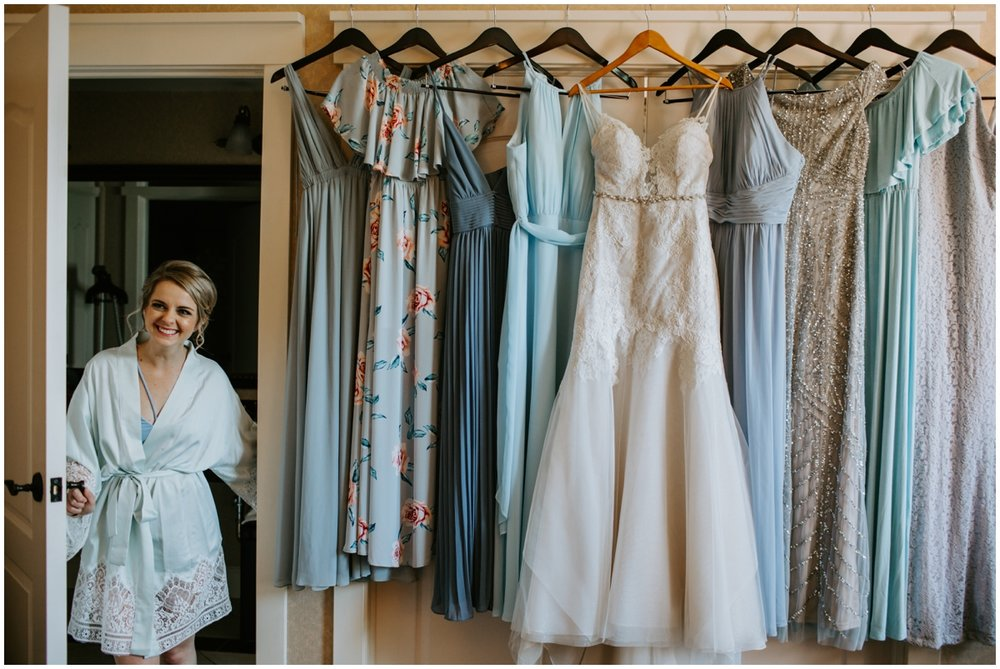 bride with the wedding gown and bridesmaids dreseses