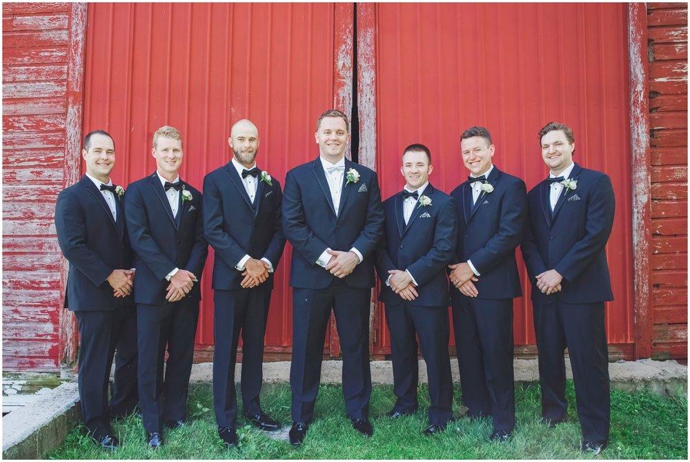 Groom and Groomsmen before Wisconsin wedding