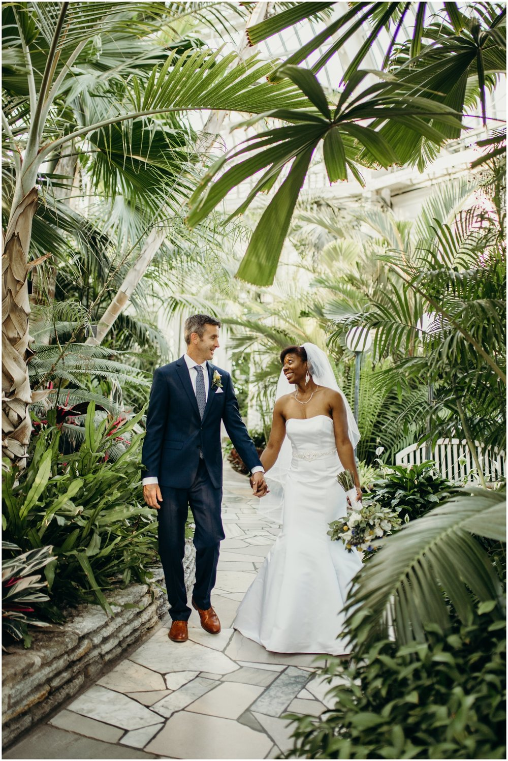 Bride and groom at the Como Conservatory