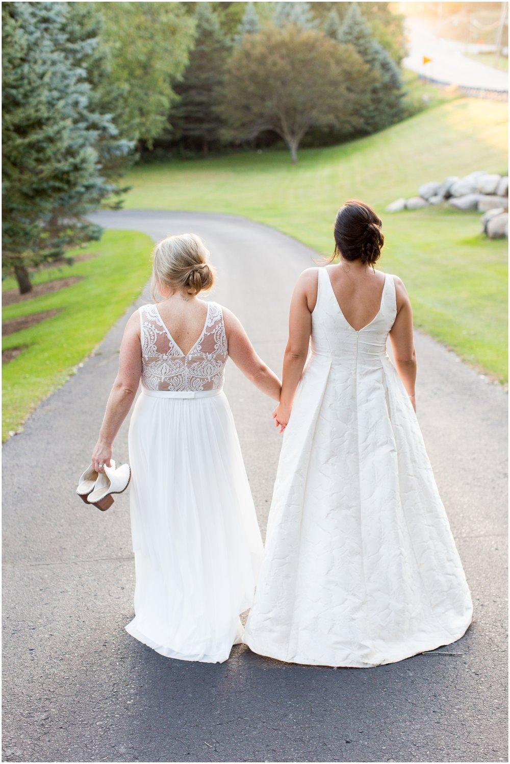 Brides holding their hands
