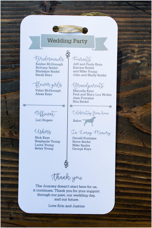 Wedding party list