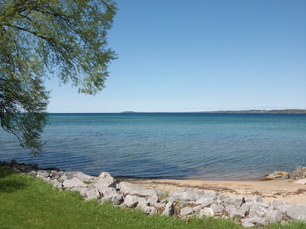 West Bay in Traverse City, counselor office view, peaceful setting to reduce stress and anxiety