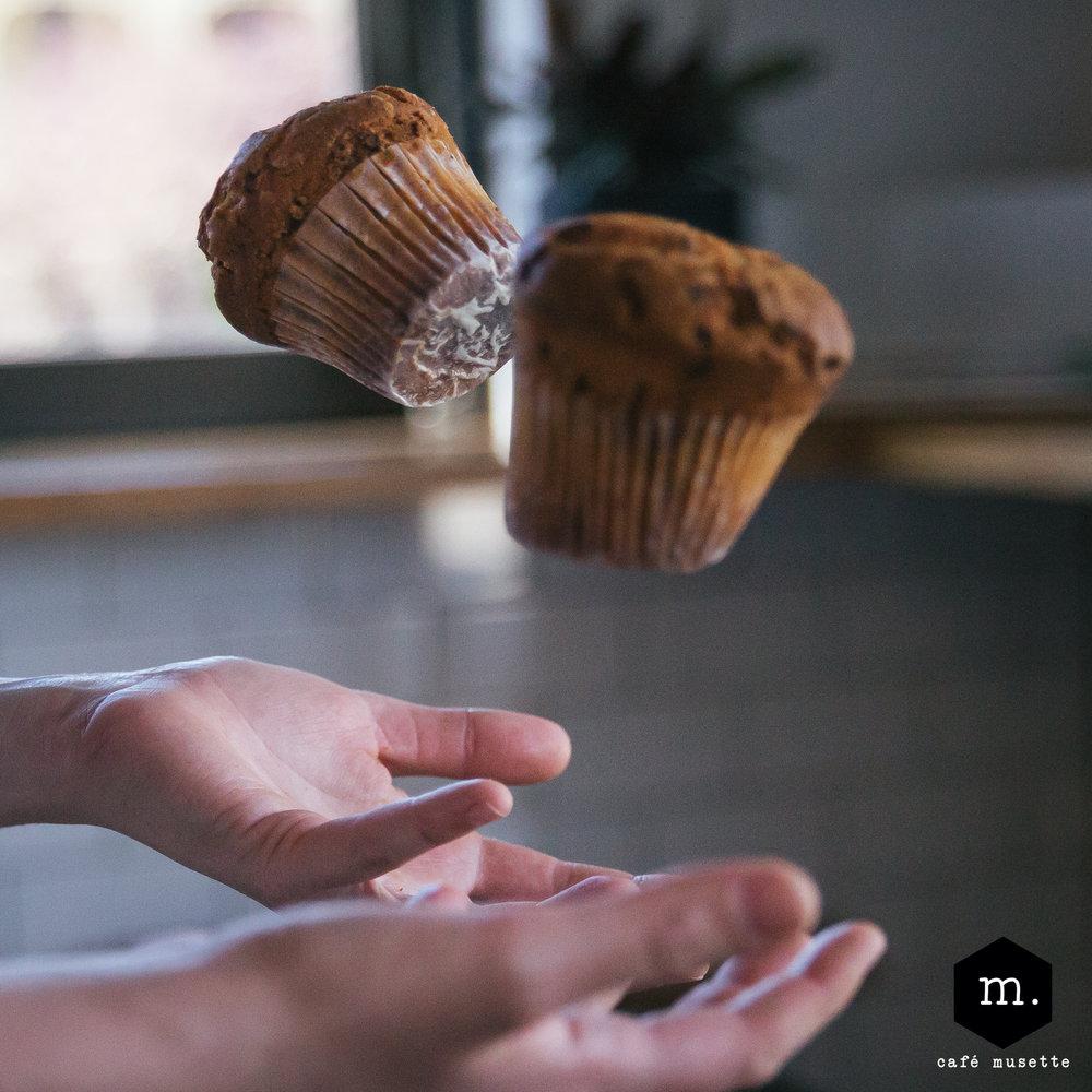 Muffins: - Butter, sugar, egg, yoghurt, wheat flour, baking powder, baking soda,
