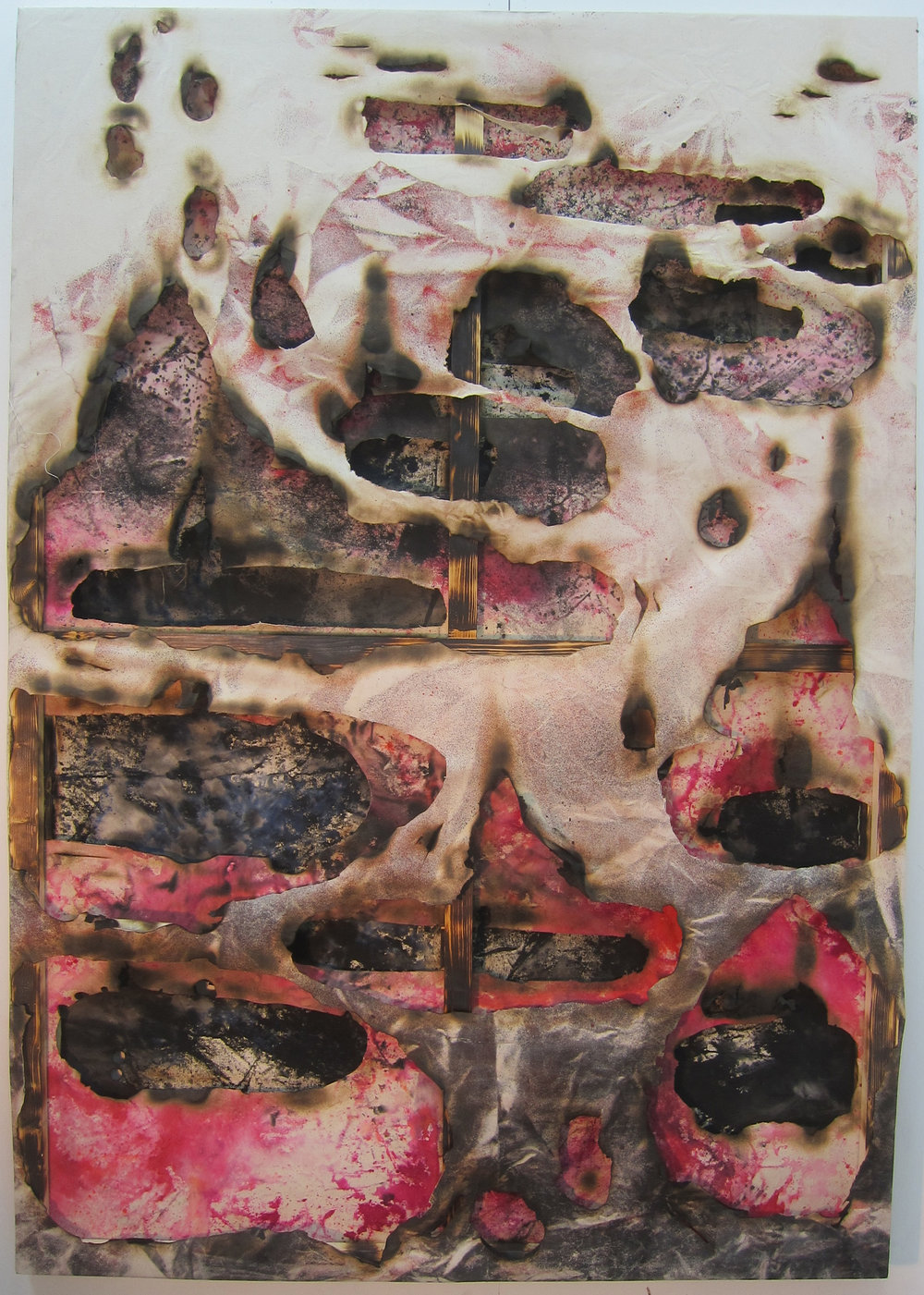 Post-Human Lasagne.   Alkyd resin, ink, water colour, bleach, fire and cotton.   200 x 140 x 9 cm.  2015.