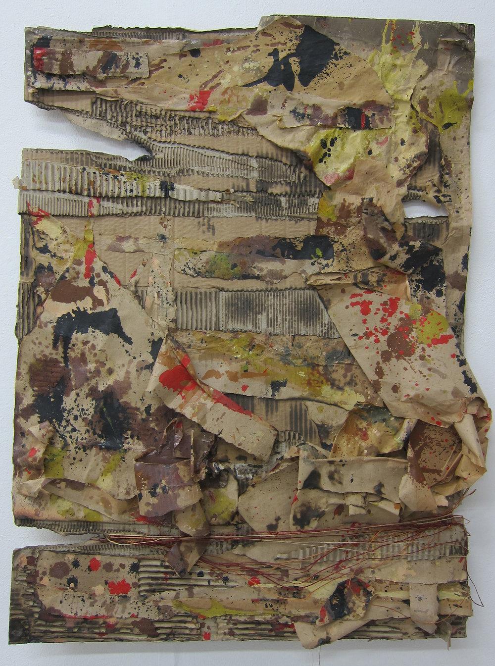 Detritus.   Cardboard, paper, cotton, alkyd resin &fire.  80 x 58 cm.  2015.