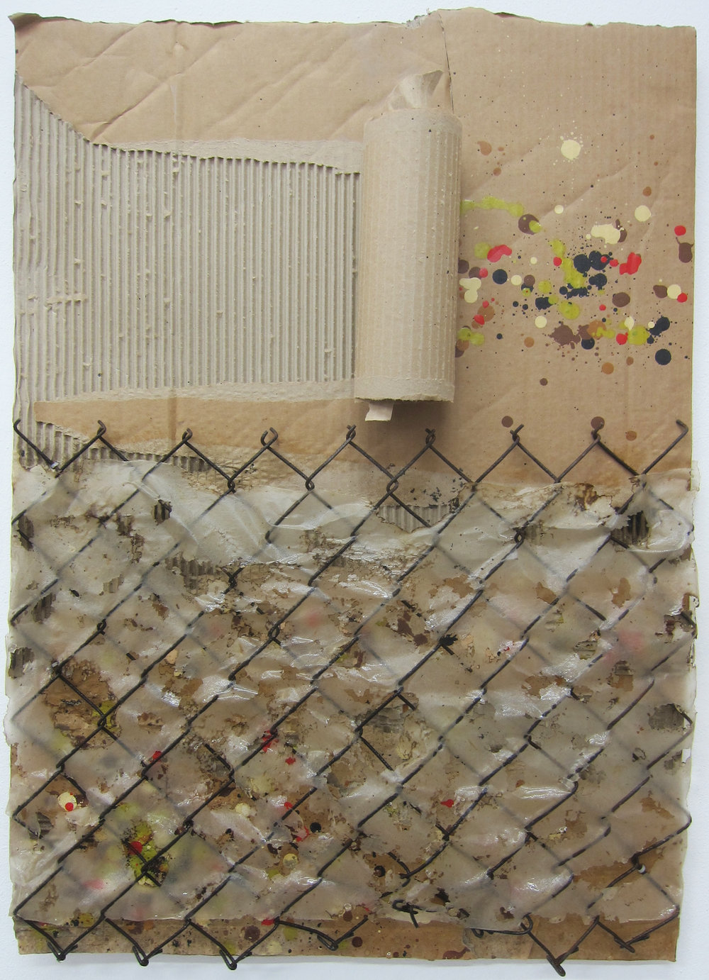 Air Speckle (R).    Cardboard, fence, paper, alkyd resin, fire and water.   80 x 58 cm.  2015.