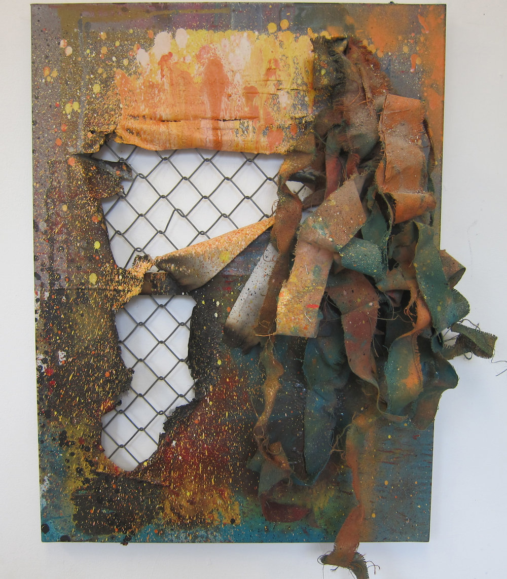 Institutionalised  .   Oil paint, alkyd resin, fire, fence and canvas.   80 x 60 cm.  2015.