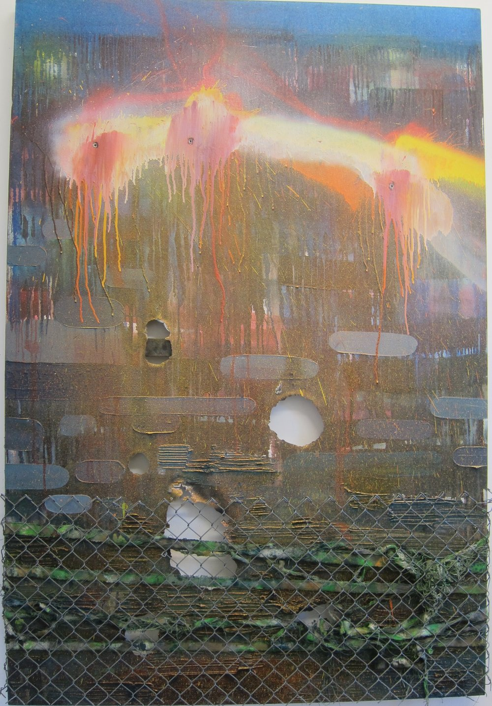 Drunk Guard with a Gun.   Oil, alkyd resin, fire, fence, canvas & shot 3 times with a Marlin Underlever .38 rifle.   170 x 115 cm.   Make Your Mark Gallery, Helsinki, Finland.