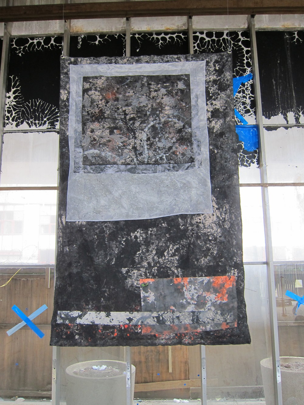 """Acid Reign.   Alkyd resin, acrylic, pigment, ink, dye, gravel, polyester, cotton, canvas &plastic debris netting.  300 x 195 cm.                      Normal   0           false   false   false     EN-US   JA   X-NONE                                                                                                                                                                                                                                                                                                                                                                              /* Style Definitions */ table.MsoNormalTable {mso-style-name:""""Table Normal""""; mso-tstyle-rowband-size:0; mso-tstyle-colband-size:0; mso-style-noshow:yes; mso-style-priority:99; mso-style-parent:""""""""; mso-padding-alt:0cm 5.4pt 0cm 5.4pt; mso-para-margin:0cm; mso-para-margin-bottom:.0001pt; mso-pagination:widow-orphan; font-size:12.0pt; font-family:Helvetica; mso-ansi-language:EN-US;}                         Normal   0           false   false   false     EN-US   JA   X-NONE                                                                                                                                                                                                                                                                                                                                                                              /* Style Definitions */ table.MsoNormalTable {mso-style-name:""""Table Normal""""; mso-tstyle-rowband-size:0; mso-tstyle-colband-size:0; mso-style-noshow:yes; mso-style-priority:99; mso-style-parent:""""""""; mso-padding-alt:0cm 5.4pt 0cm 5.4pt; mso-para-margin:0cm; mso-para-margin-bottom:.0001pt; mso-pagination:widow-orphan; font-size:12.0pt; font-family:Helvetica; mso-ansi-language:EN-US;}           Silver Sehnsucht  exhibition at The Silver Building, London 2017.                      Normal   0           false   false   false     EN-US   JA   X-NONE                                 """