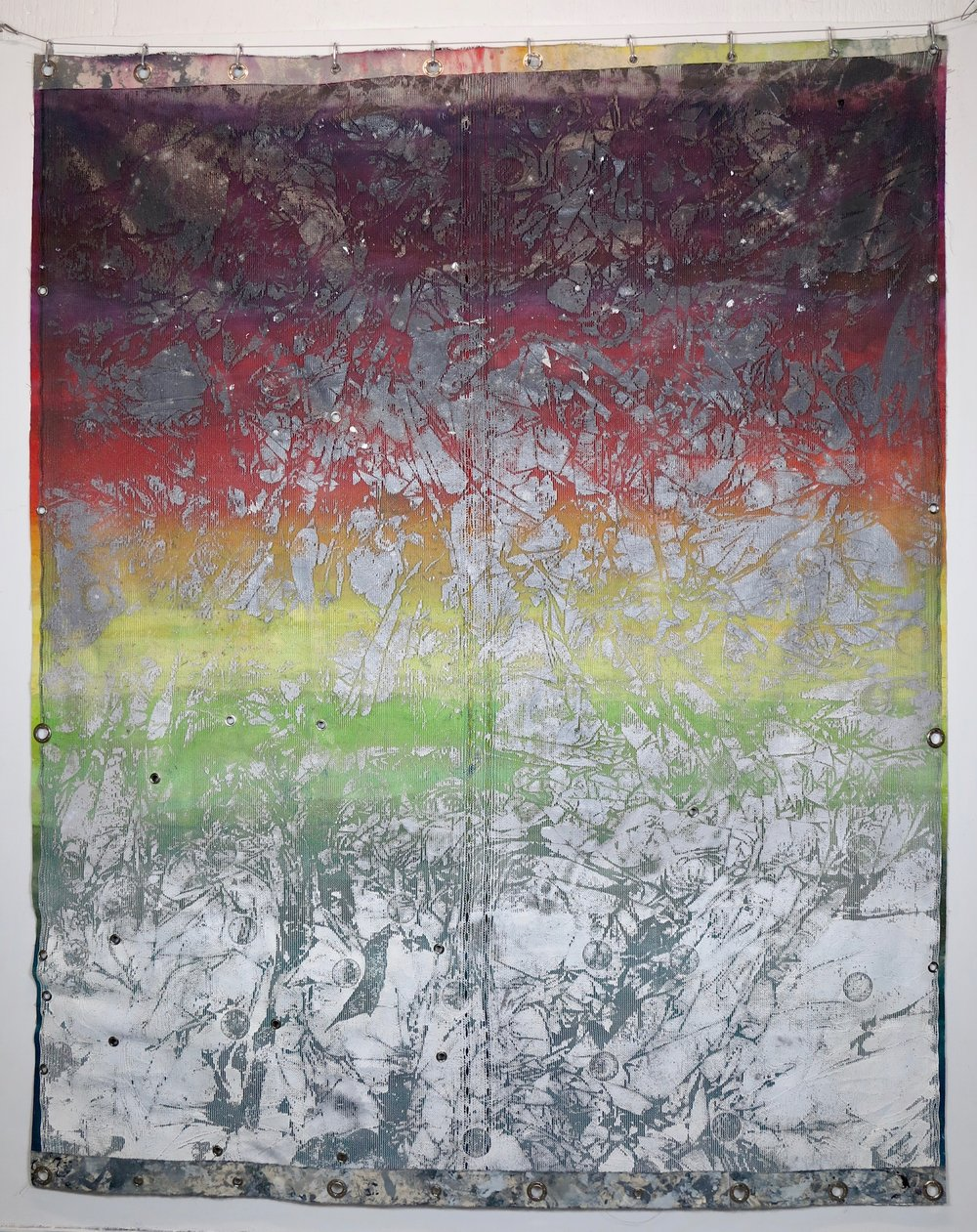 Freak Code (B Side).   Debris netting, spray paint, acrylic, cotton and eyelets.  250 x 200 cm.   Hack Morecambe,  Morecambe 2018.