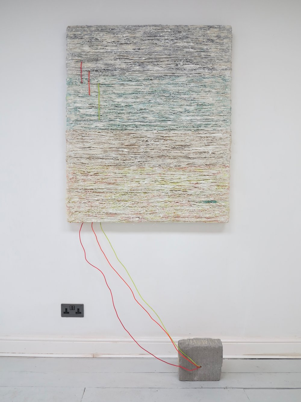Wired.   Alkyd Resin, acrylic, raw pigment, varnish, PVA, plastic, electrical wire, concrete and cotton.  Dimensions variable.   Hack Morecambe  @ Gas Contemporary, Morecambe 2018.