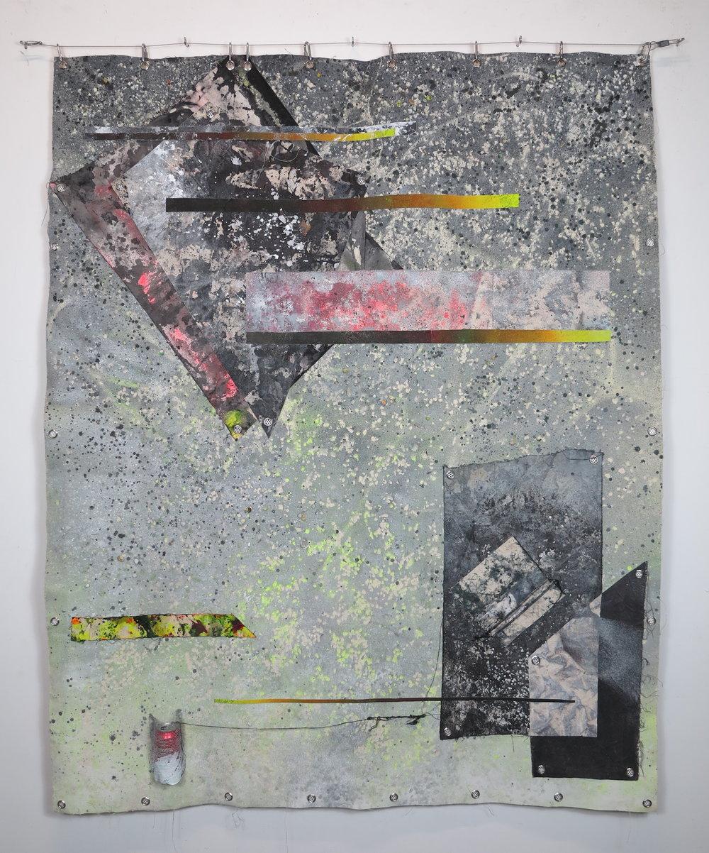 Lucid Larceny.   Spray paint, gravel, acrylic, cotton, debris netting, eyelets, polyester, canvas and a Estella can.  200 x 160 cm.   Moral Minimalism  @ Aloïse, Barcelona 2018.