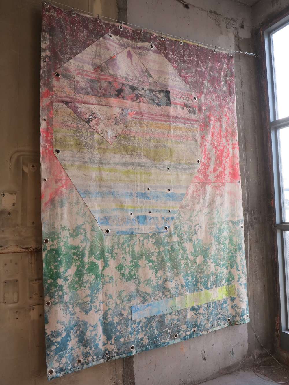 This Is Not A Love Song..   Sand, spray paint, acrylic, polyester, cotton and eyelets.  300 x 200 cm.   Low Voltage Experiments  @ The Silver Building, London 2018.