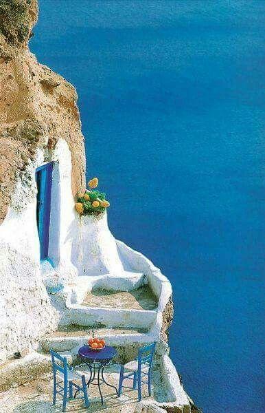 Coffee in Santorini Greece