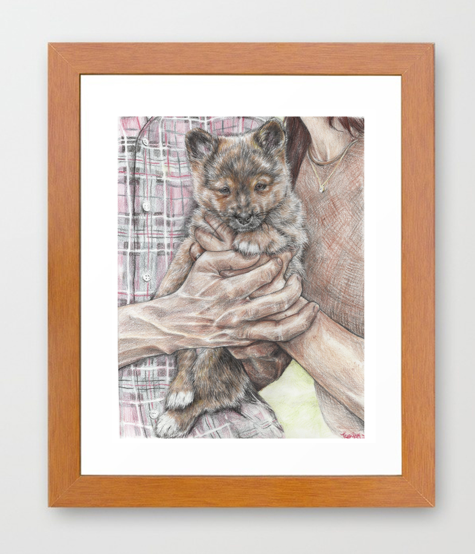 Hand Drawn Colored Pencil Puppy Portrait