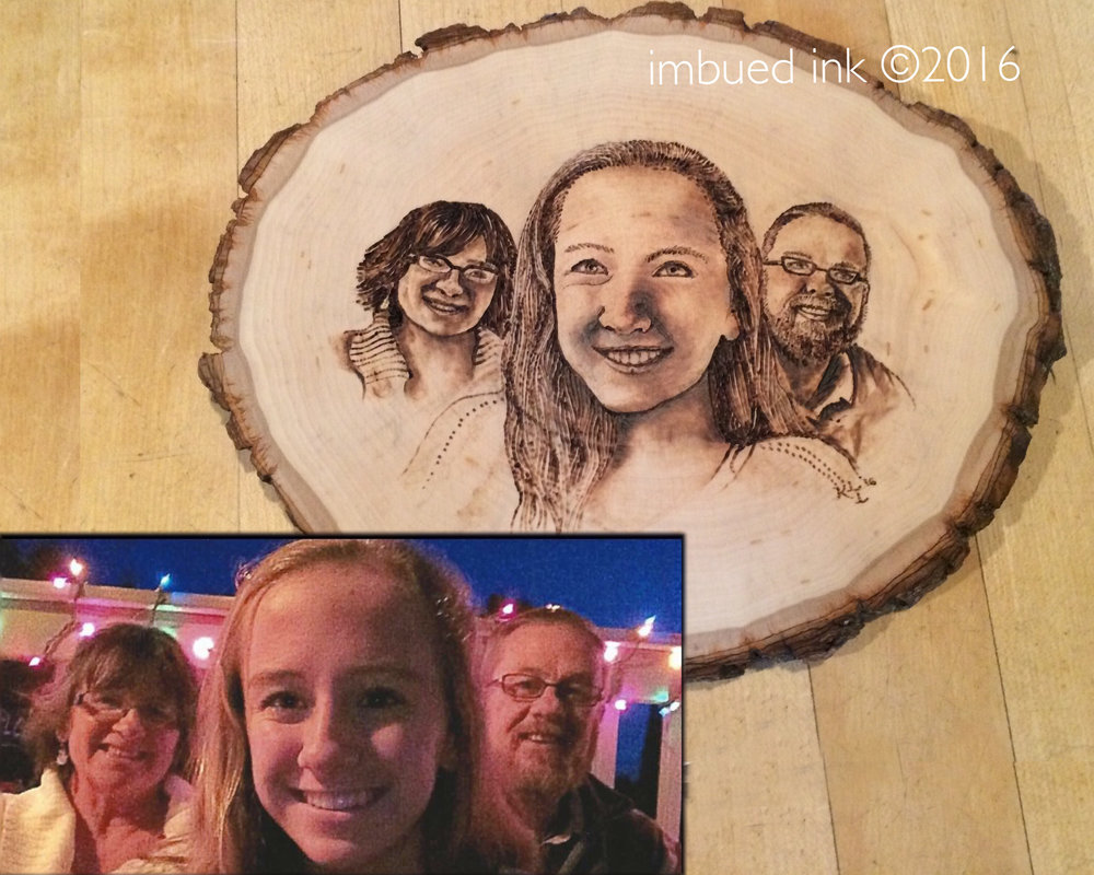 "Wood Burned Portrait, 8"" diameter natural border round plaque"