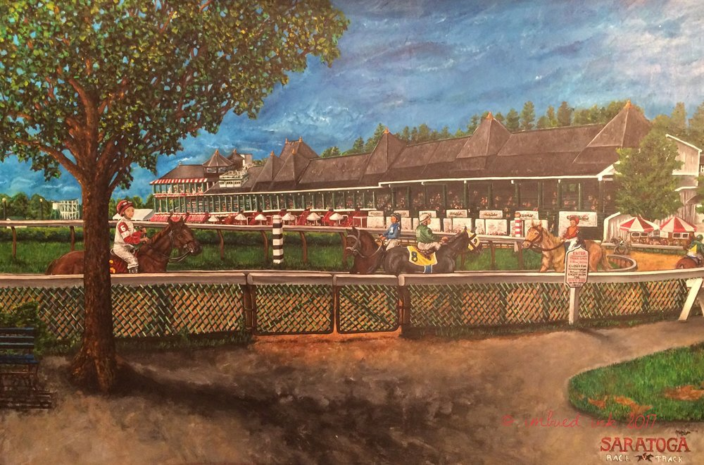"Saratoga Race Course, 24"" x 32"" Freehand Acrylic Painting"