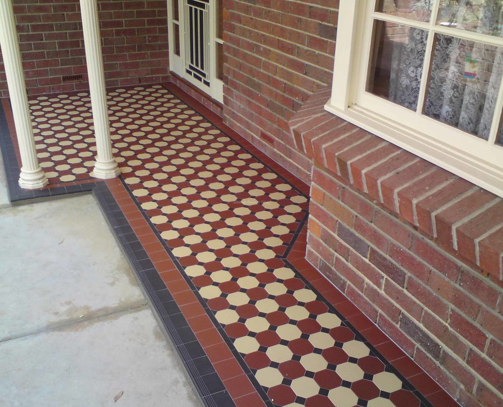 Alternating Special Red and Oatmeal Octagons with Black Dots, Strip and Filler Tile Border
