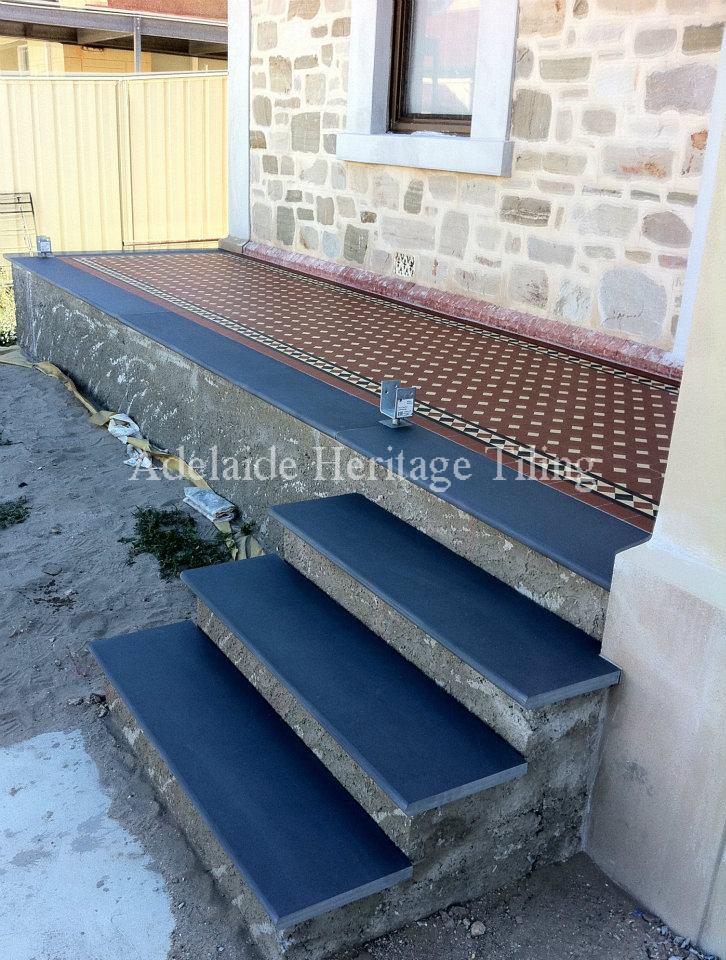 Mintaro Slate edging and steps (before render to step risers and vertical edge)